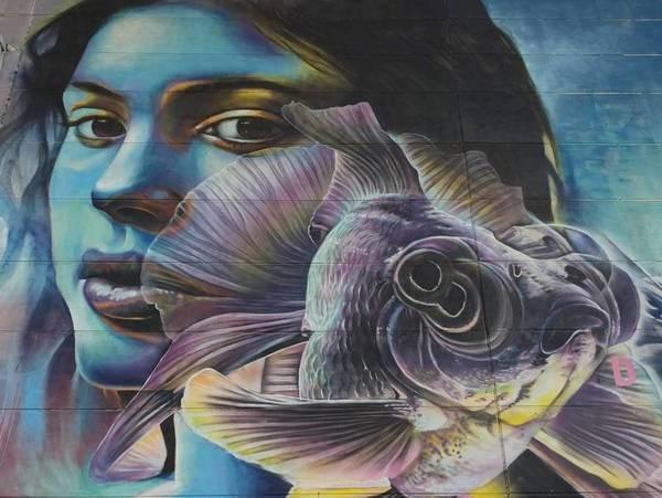 Mural van Djoels waarop zij en haar goudvisje Bas staan afgebeeld.