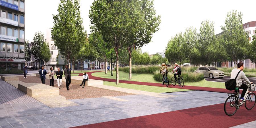Zicht op de voetgangerszone en de fietspaden aan de Rijnpoortvest