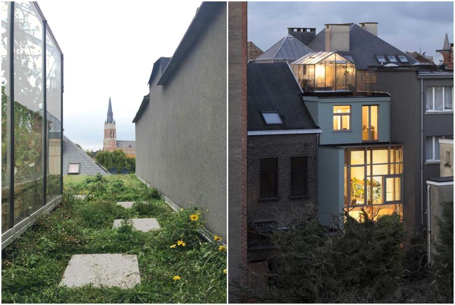 Collage met foto links: beeld van het groendak en foto rechts: beeld van de glazen achtergevel van het huis