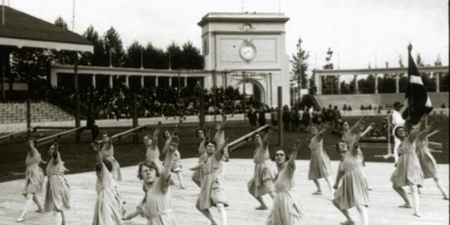 Turnsters vrije oefening Olympische Spelen 1902