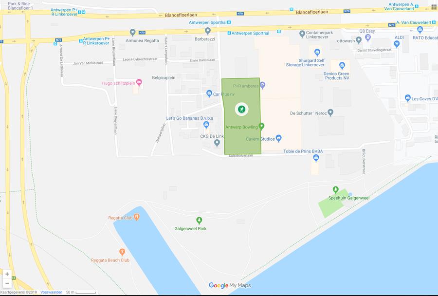 Aanduiding op kaart van het Regatta urban sports park in Linkeroever