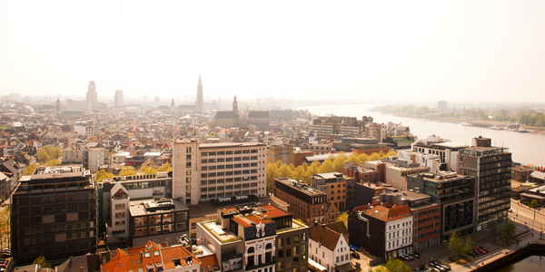 Skyline stad Antwerpen.