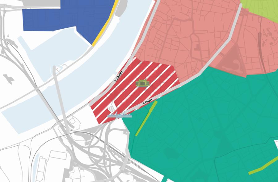 Plannetje van de parkeerwijzigingen: grens van de nieuwe rode parkeertariefzone is de Amerikalei, Jef Cassiersstraat, Ledeganckkaai, De Gerlachekaai, Cockerillkaai, Scheldestraat, Kronenburgstraat en Kasteelpleinstraat