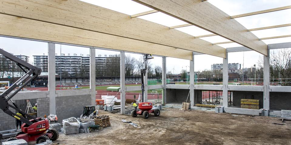 Constructie tweede nieuwe sporthal Rode Loop