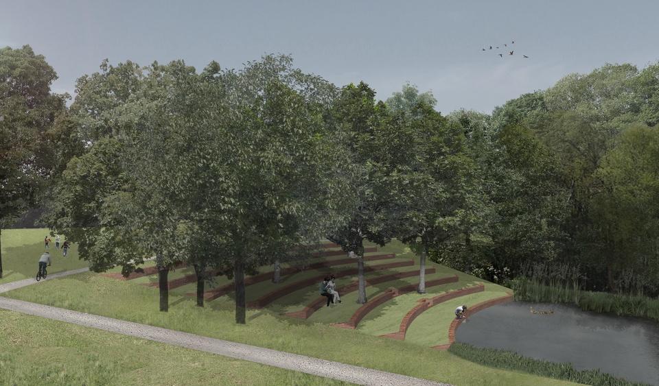 toekomstbeeld terrassenstructuur aan vijver