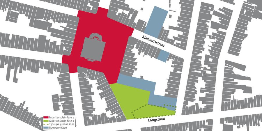 Plan met daarop de verschillende onderdelen van het project Moorkensplein