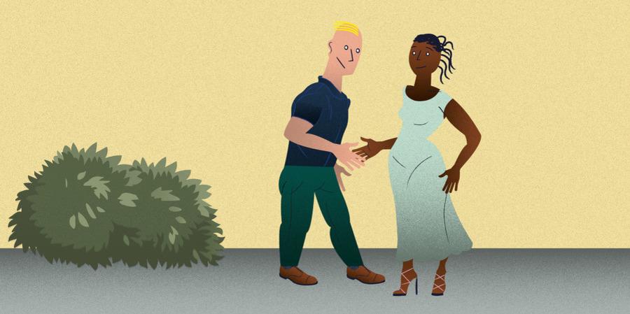 Tekening van een man en een vrouw die elkaar de hand schudden.