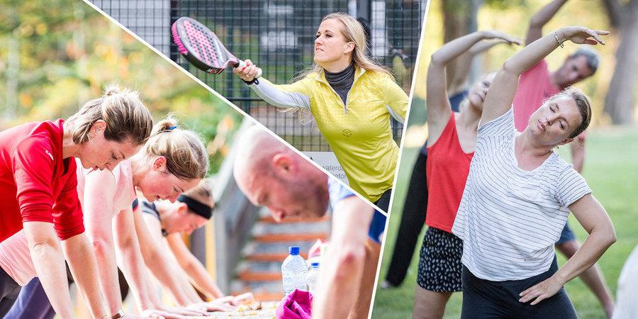Collage van 3 foto's met sportende mensen.