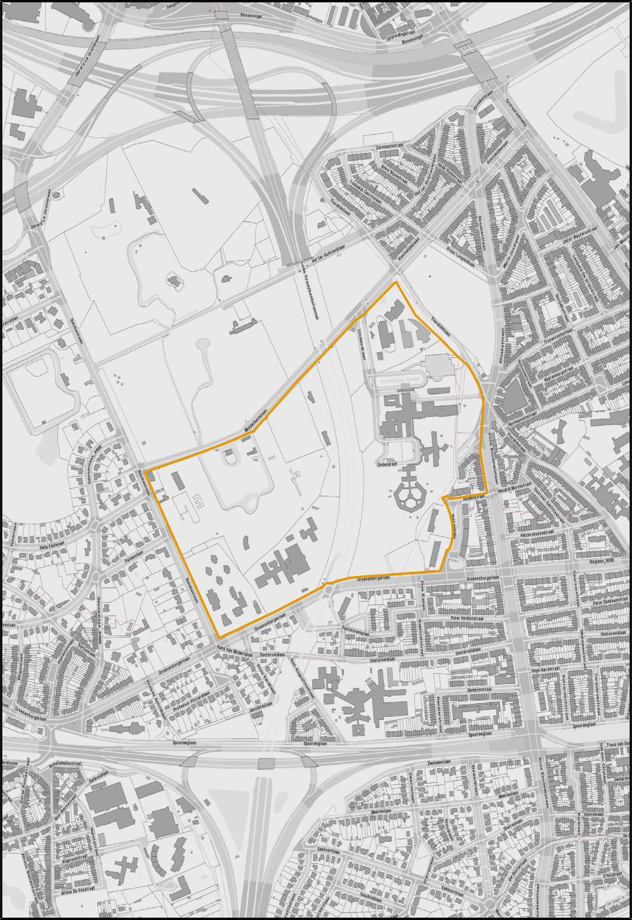 Campus Middelheim waarop het RUP van toepassing zal zijn.  (Gebied binnen de oranje begrenzing.)