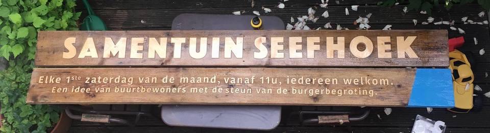 Houten bord Samentuin Seefhoek