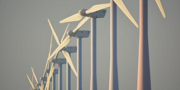 We zien een rij van windmolens