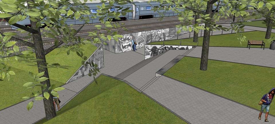 vernieuwde toegang met twee hellingen en een trap in tribunevorm aan de kant van de Spoorwegstraat