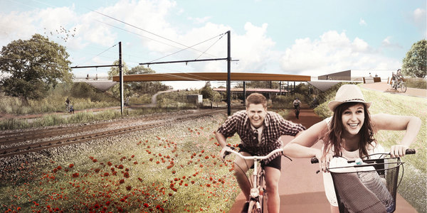 Toekomstbeeld van de nieuwe brug over de spoorweg gezien vanop het Jef van Lindenfietspad (F13).
