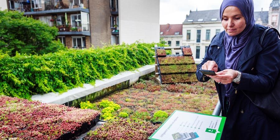 vrouw kiest uit types groendak op het dak van het EcoHuis
