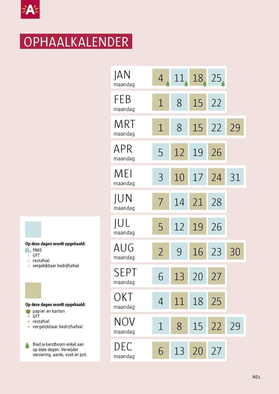 Voorbeeld kalender buiten de ring