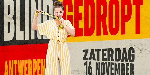 Frances Lefebure met affiche Blind Gedropt