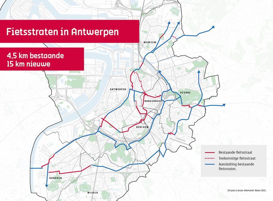 Kaart met bestaande en toekomstige fietsstraten