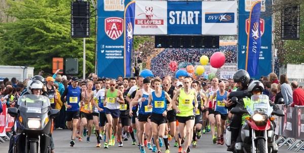 Lopers aan de start van de DVV Antwerp Marathon