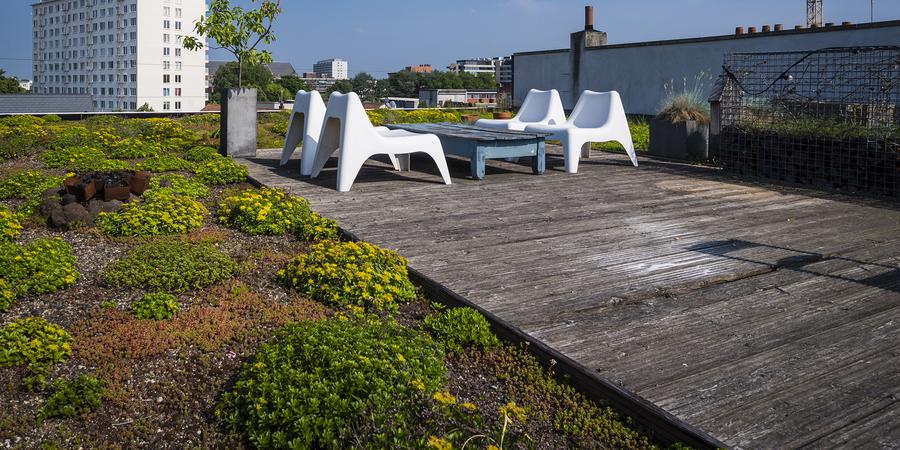 houten terras op daktuin