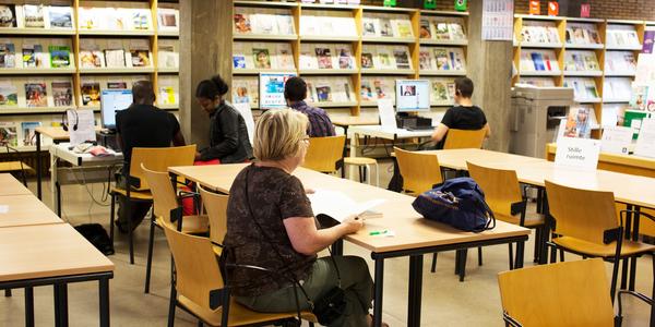 Lezende bezoeker in bib Couwelaar