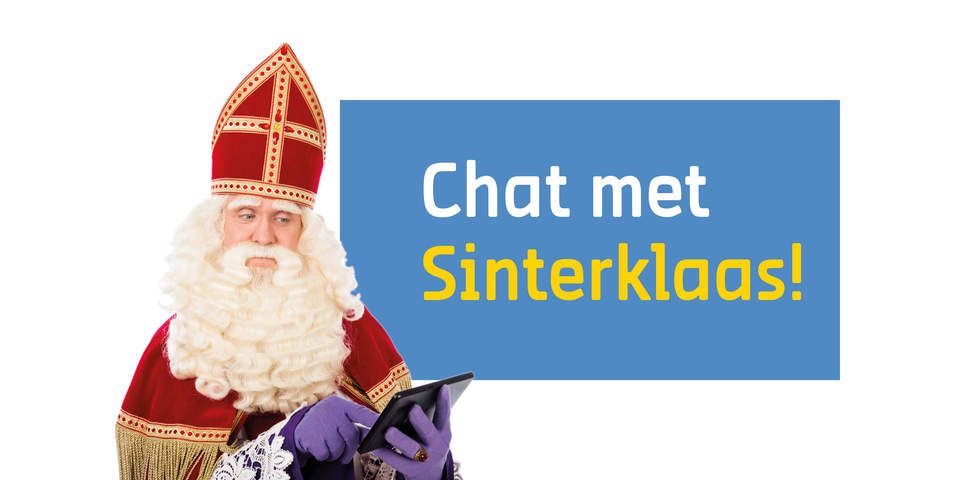 Sinterklaas bekijkt een tabletscherm