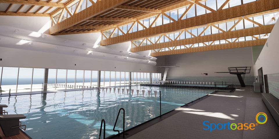 Beeld van het toekomstige sport- en instructiebad met duikinstallatie