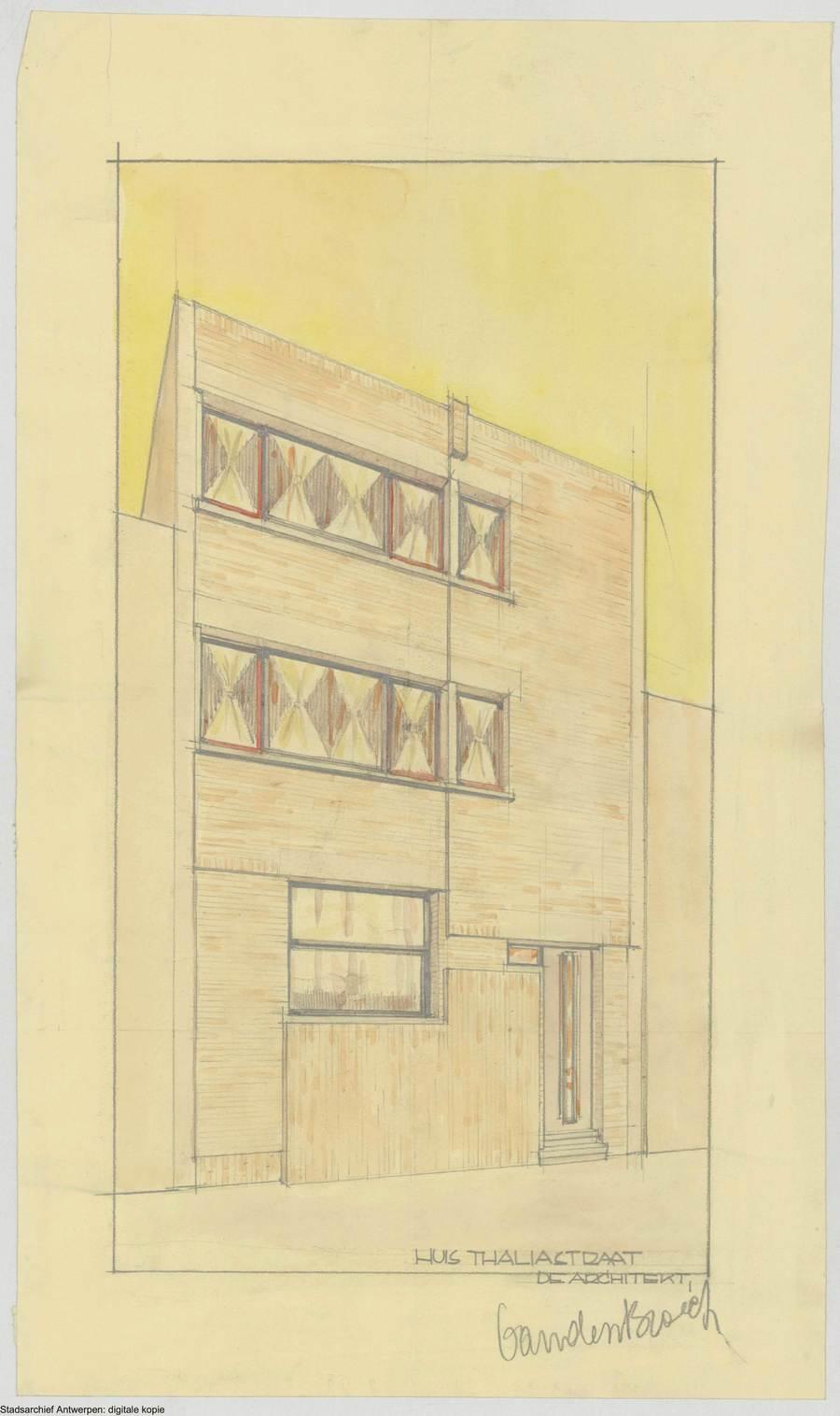 Gevelontwerp van architect Walter Van den Broeck.