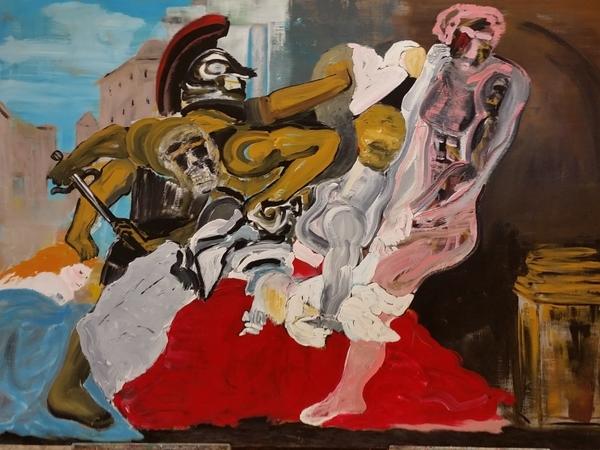 Schilderij van Tony Matysiak waarop een gevecht te zien is