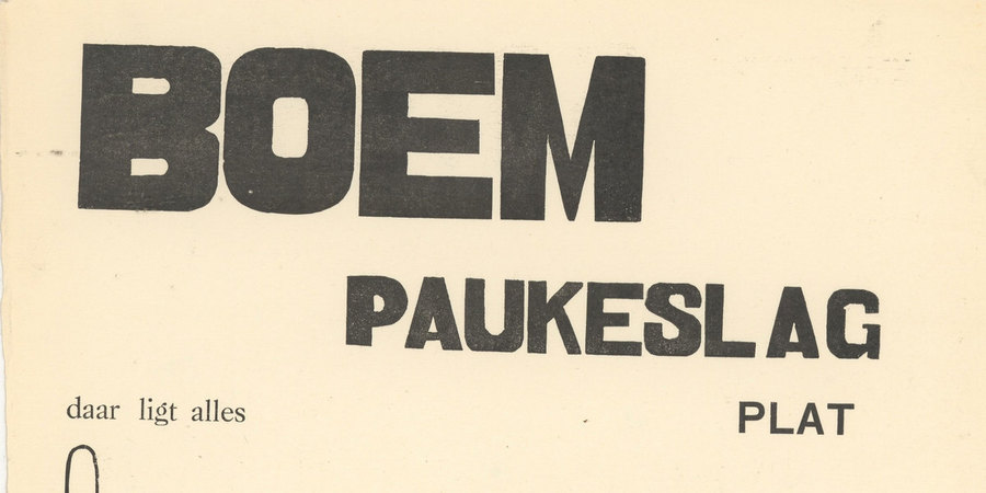 Deel van de cover van de dichtbundel BOEM PAUKESLAG