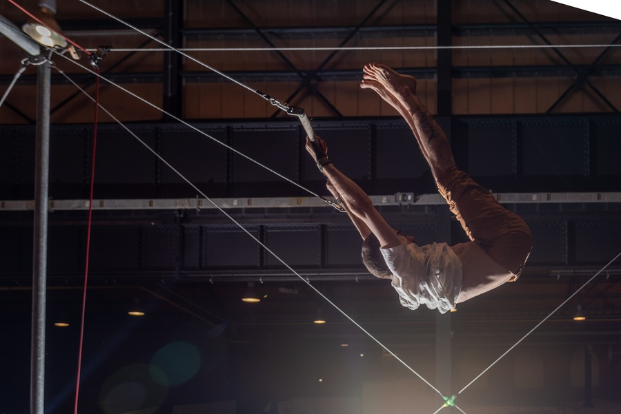 circusartiest in trapeze