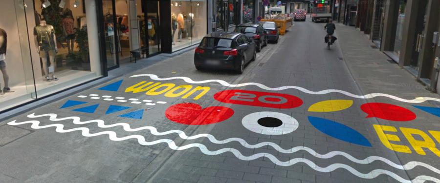 Woonerf schildering op straat