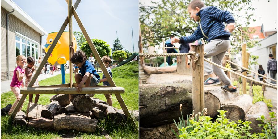 Links: boomstammetjes worden gebruikt als speel-kampvuur / rechts: boomstammetjes als trapje om op een heuvel te geraken.