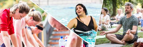 Een fotomontage van sportende mensen. Outdoor workout, aquafitness en yoga in het park.