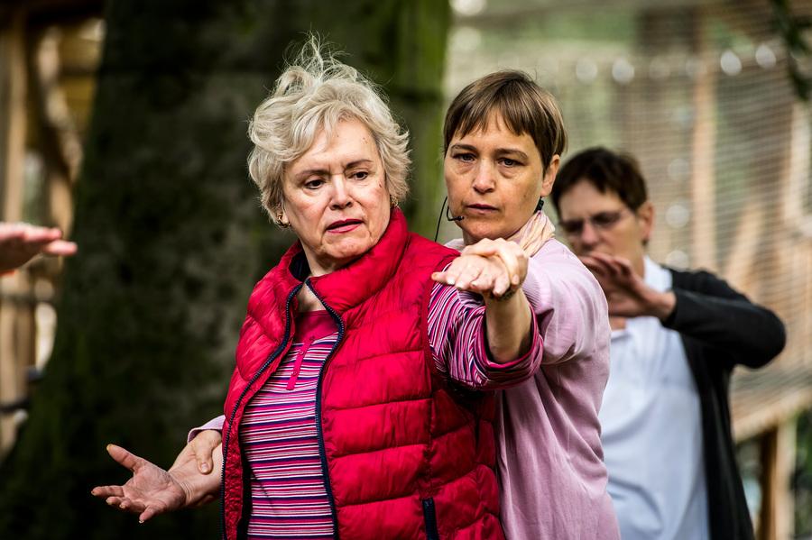 Oudere dame doet een tai chi oefening in het park