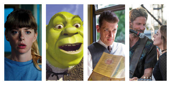 Collage van beelden uit de films (van links naar rechts) Yummy, Shrek, Allez Eddy en A star is born