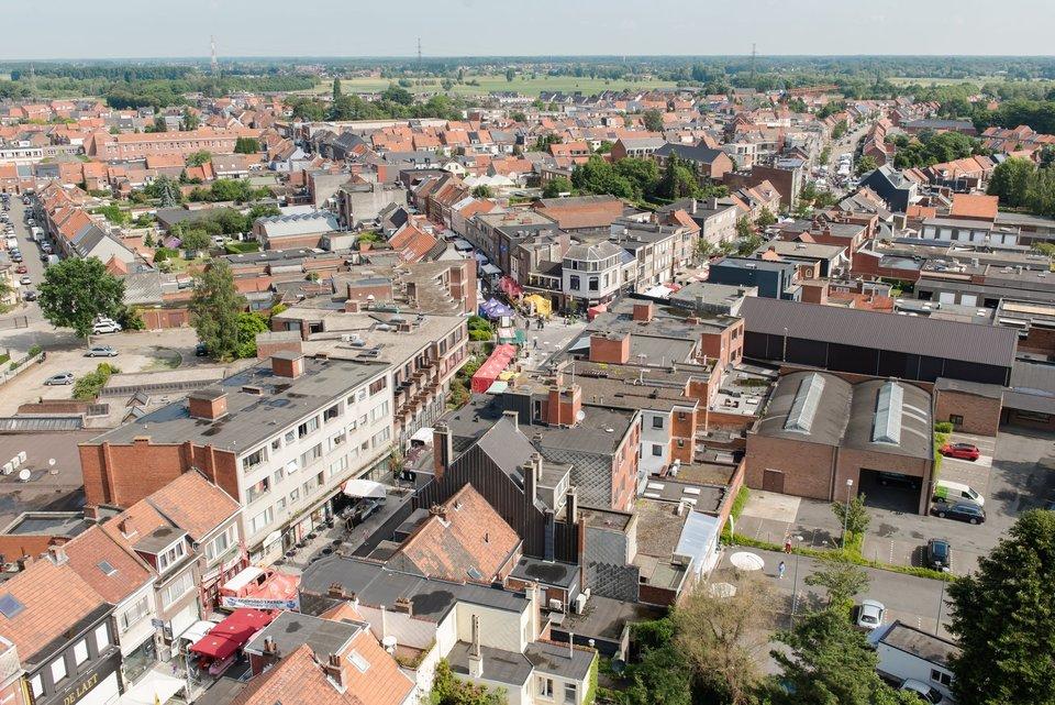Een zicht uit de lucht op enkele straten in Ekeren