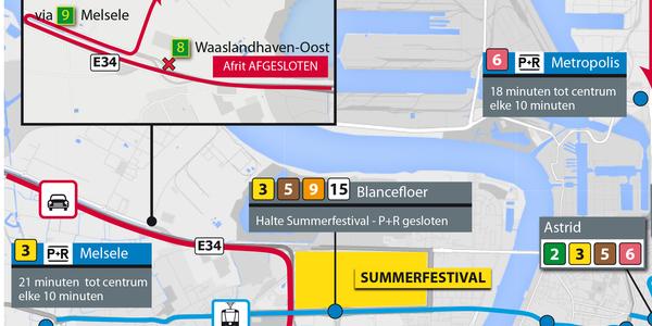 P+R Blancefloer niet bereikbaar van 3 tot 6 juli 2015