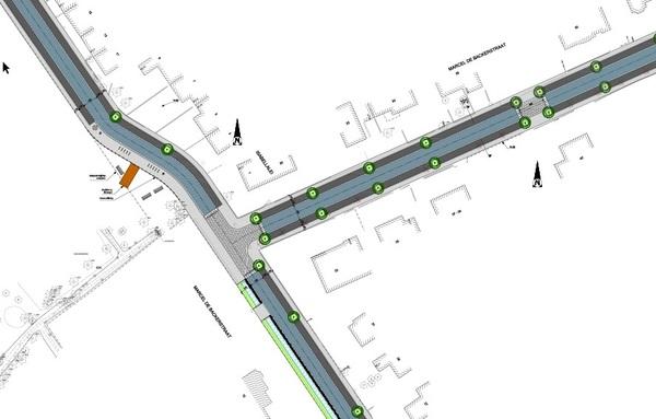 Detail van het nieuwe kruispunt tussen de Marcel De Backerstraat en Isabellalei
