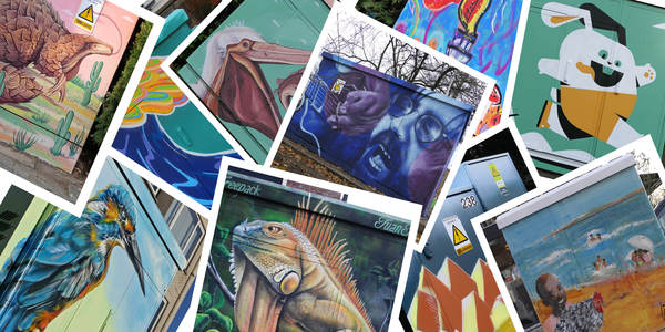 Een fotocollage van verschillende gedecoreerde nutskasten van Tour Elentrik, met onder meer afbeeldingen van sport, exotische dieren en Ferre Grignard.