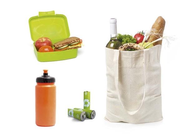 brooddoos, drinkbus, batterijen en linnen zak
