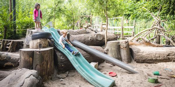Kinderen spelen op een avontuurlijke en natuurlijke speelplaats