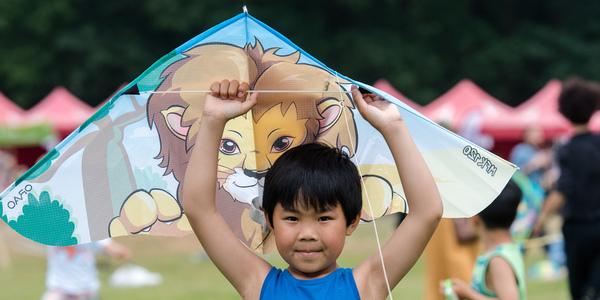 Jongetje poseert met vlieger
