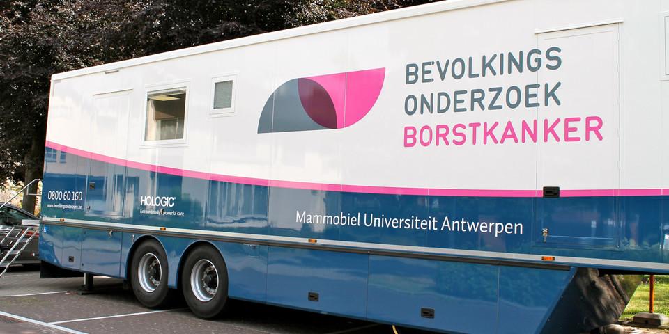 De mammobiel van de Universiteit Antwerpen