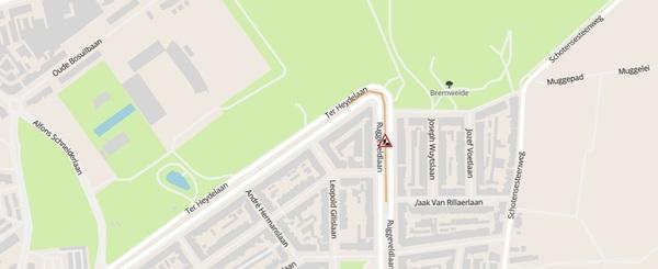 Stratenplan waarop bocht Ter Heydelaan - Ruggeveldlaan is aangeduid als werfzone