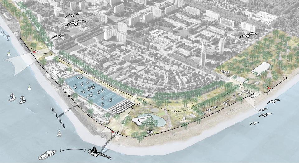 Simulatiebeeld van Sint-Anneke Plage volgens het masterplan