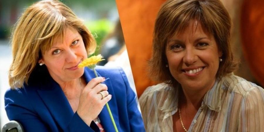 Twee portretfoto's van Gerty Christoffels. Links houdt ze een bloem vast en kijkt ze in de camera. Rechts lacht ze in de camera.