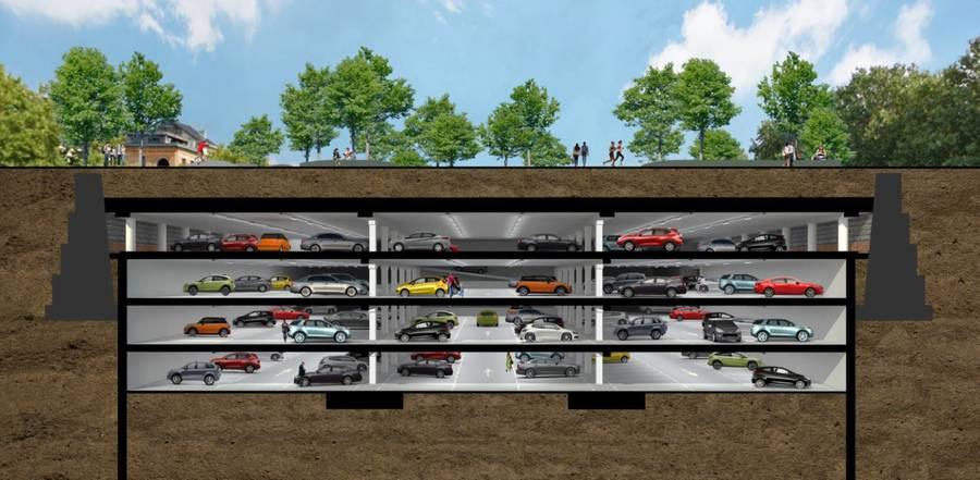 Situering van de parkings tussen de oude dokwanden