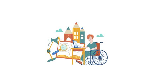 jongen aan bureau in rolstoel