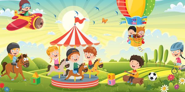Tekening van kinderen die allerlei activiteiten zijn aan het doen