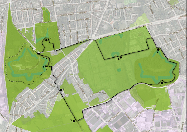 Traject wandeling van vrijdag 2 juni, door de Zuidelijke Kamers in Hoboken en Wilrijk.
